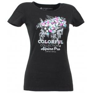 Dámské triko s krátkým rukávem ALPINE PRO ROZENA ČERNÁ