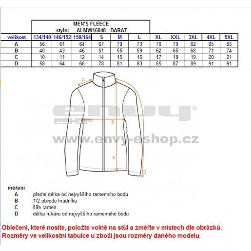 Pánská fleece mikina ALTISPORT BARAT ALMW16048 ČERNÁ