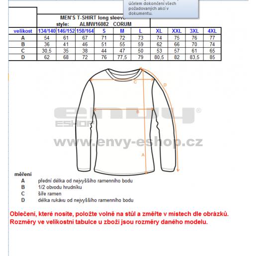 Pánské triko s dlouhým rukávem ALTISPORT CORUM ALMW16082 TYRKYSOVÁ