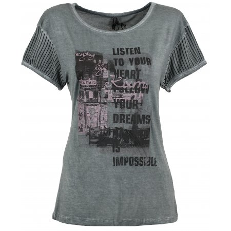 Dámské triko s krátkým rukávem KIXMI BARBIE AALTW16103 TMAVĚ ŠEDÁ