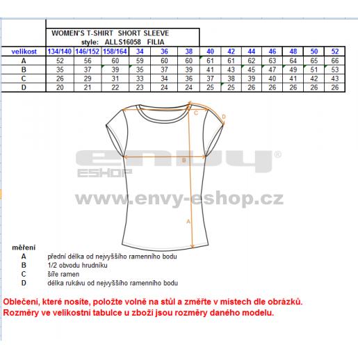 Dámské triko s krátkým rukávem ALTISPORT FILIA ALLW16058 ČERNÁ