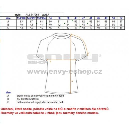 Dámské triko s krátkým rukávem ALTISPORT WALA ALLS17068 ČERNÁ