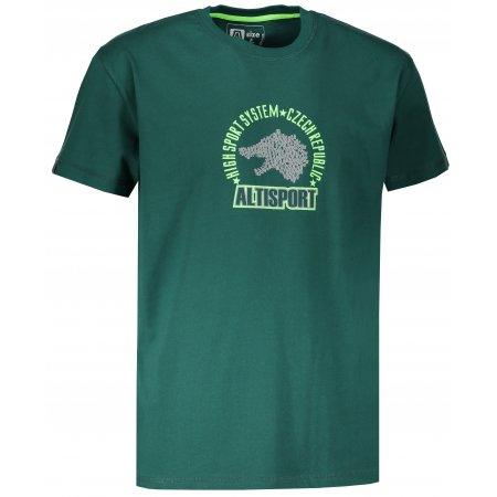 Pánské tričko s krátkým rukávem ALTISPORT LOULAD TMAVĚ ZELENÁ