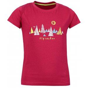 Dětské triko s krátkým rukávem ALPINE PRO DAYO KTSL098 TMAVĚ RŮŽOVÁ