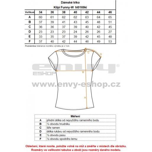 Dámské tričko s krátkým rukávem KILPI FUNNY-W HL0169KI SVĚTLE ŠEDÁ