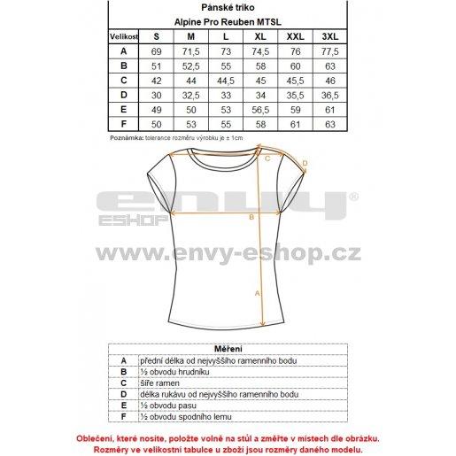 Pánské triko s krátkým rukávem ALPINE PRO REUBEN MTSL326 ČERNÁ