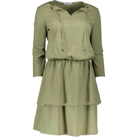 Dámské šaty s volánky NUMOCO 182-1 KHAKI