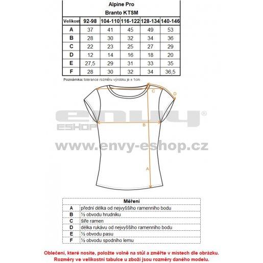 Dětské triko ALPINE PRO BRANTO KTSM121 SVĚTLE ŠEDÁ
