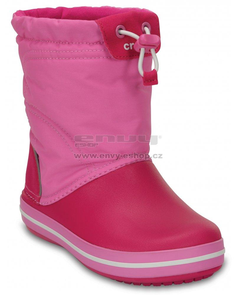 Dětské zimní boty CROCS KIDS CROCBAND LODGE POITN BOOT 203509-6LR CANDY  PINK PARTY 5df69253b0