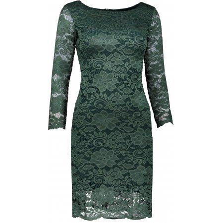 Dámské šaty s krajkou NUMOCO A180-3 TMAVĚ ZELENÁ