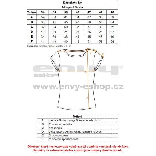 Dámské triko s krátkým rukávem ALTISPORT GUSTA LTSN528 ČERNÁ