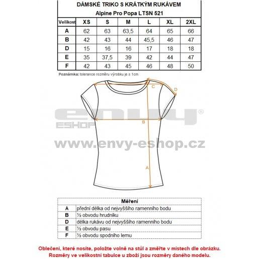 Dámské triko s krátkým rukávem ALPINE PRO POPA LTSN521 ČERNÁ