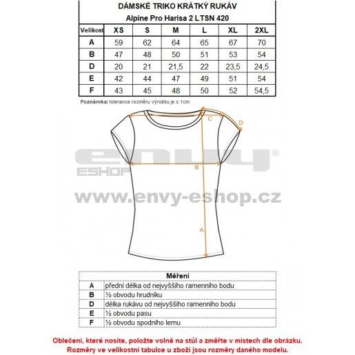 Dámské tričko s krátkým rukávem ALPINE PRO HARISA 2 LTSN420 ŽLUTÁ