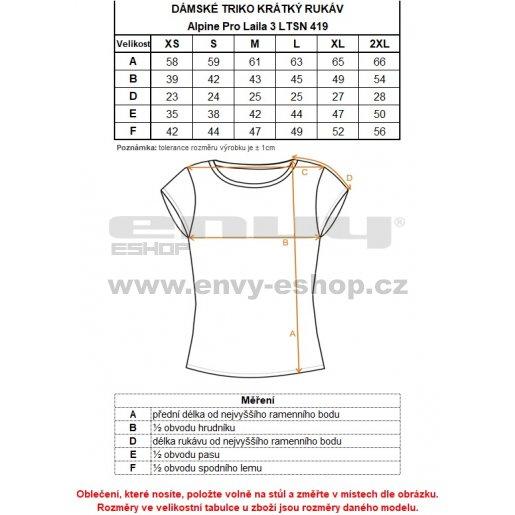 Dámské tričko s krátkým rukávem ALPINE PRO LAILA 3 LTSN419 ŠEDÁ