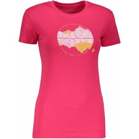 Dámské triko ALPINE PRO UNEGA 6 LTSP505 TMAVĚ RŮŽOVÁ