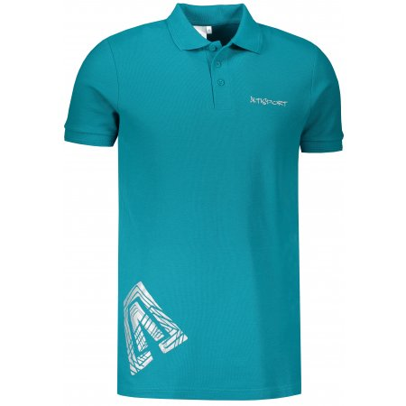 Pánské triko s límečkem ALTISPORT ALM013203 TMAVÝ TYRKYS