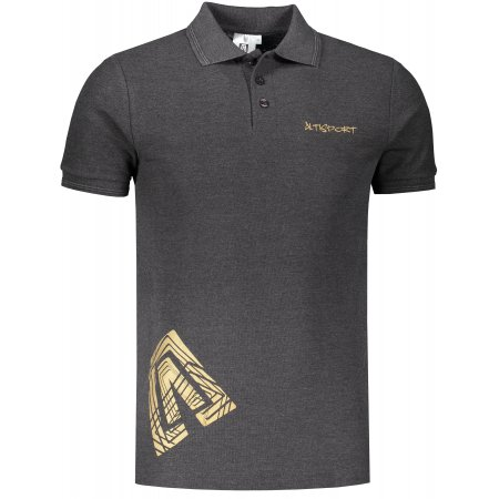 Pánské triko s límečkem ALTISPORT ALM013203 ANTRACITOVÝ MELÍR