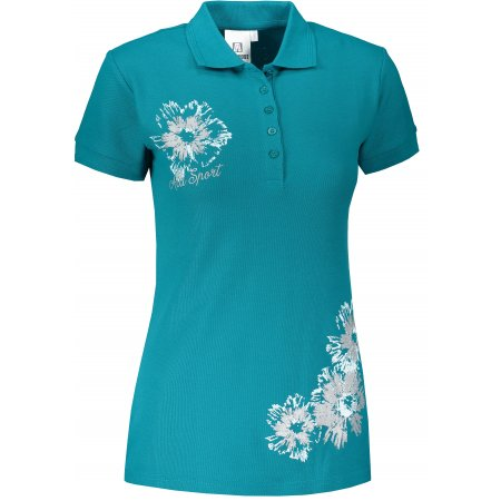 Dámské triko s límečkem ALTISPORT ALW016210 TMAVÝ TYRKYS