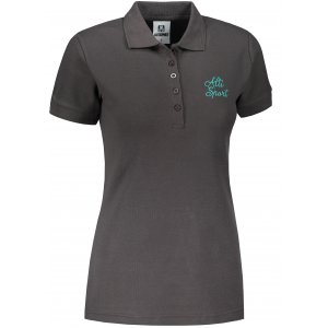 Dámské triko s límečkem ALTISPORT ALW056210 EBONY GREY/MODRÁ